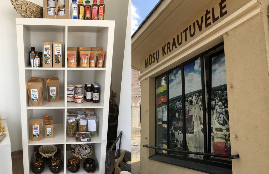 Krautuvėlėje prekiaujama ekologiška produkcija, įvairia atributika ir kitomis prekėmis. Autorės nuotr.