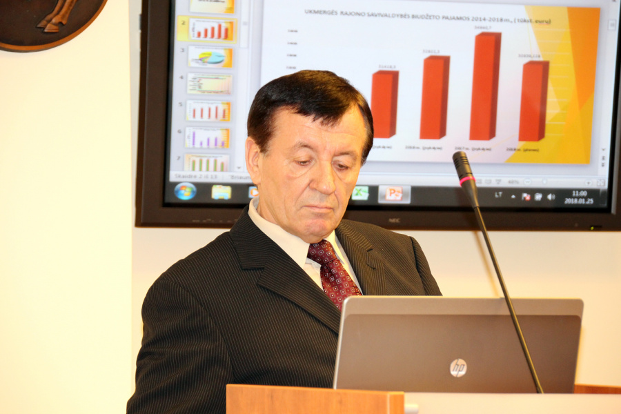Biudžeto projektą pristatė savivaldybės administracijos direktorius Stasys Jackūnas. Daivos Zimblienės nuotr.